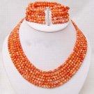 6 strands 6mm pink coral necklace bracelet set