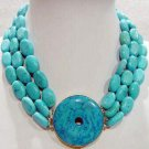 3 strands turquoise necklace round turquoise clasp