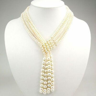 48'' 4 strands white pearl nekclace
