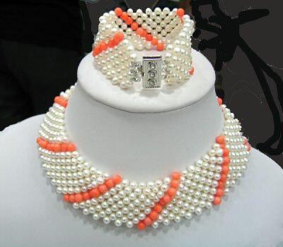9 strands kint pearl and coral chocker necklace bracelet set