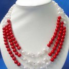 3 strands pearl coral crystal necklace