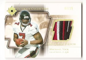 1/1 2004 ULTIMATE MICHAEL VICK FALCON LOGO PATCH #7/25! 1/1