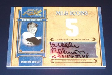 1/1 2004 PRIME CUTS BROOKS ROBINSON JERSEY #5/5 MVP INSCRIBED MLB ICONS AUTO 1/1