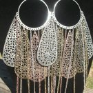 Silver , bronze, gold large dangle earrings