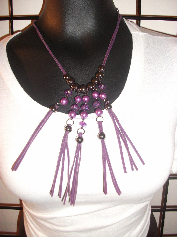 Purple Tassle 10 inch necklace