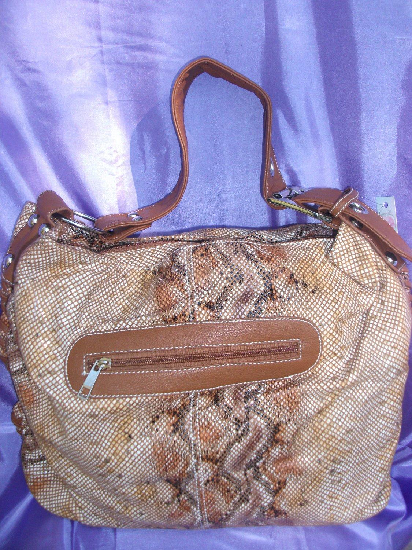 Tan/brown snake skin handbag