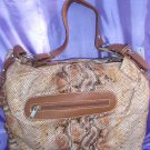 Tan/brown snake skin handbag