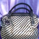 Pewter/black woven handbag