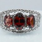 3stones Garnet with CZ 925 Sterling Silver