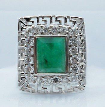 Emerald men ring around stencil sterling silver