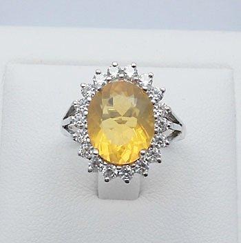 genuine fire opal & cubic zirconia sterling silver