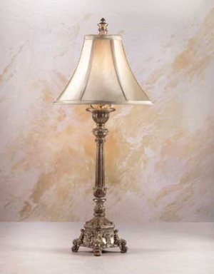 BAROQUE LAMP W/ GOLD FOIL LAMP SHADE