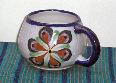 "Fireworks"" Hand Painted Ceramic Coffee Mugs"