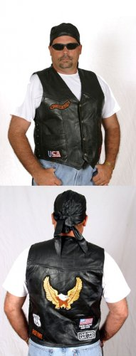 Genuine Leather Biker Black Vest