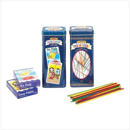 Pick Up Sticks/Card Games in Tin