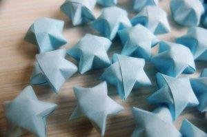 100 Origami Stars - Light blue