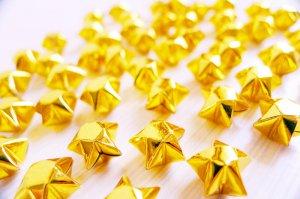 100 Cute Origami Lucky Stars Sparkling Golden