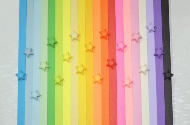 Origami Lucky Star Paper Strips Rainbow Multicolor DIY - Pack of 100 Strips Custom Order Available