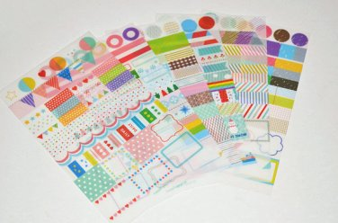 6 Sheets Rainbow Diary Decor Sticker Set Drawing Market Sticker