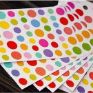 6 Sheets Rainbow Dots Diary Decor Sticker Set Colorful Paper Sticker Set