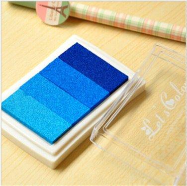 Blue Stamp Ink Pad - Gradient Color Print Ink Pad - DIY Oil Based Print Craft Pad