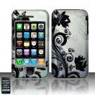 Hard Rubber Feel Design Case for Apple iPhone 3G/3Gs - Black Vines
