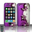 Hard Rubber Feel Design Case for Apple iPhone 3G/3Gs - Purple Vines