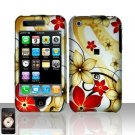 Hard Rubber Feel Design Case for Apple iPhone 3G/3Gs - Red Flowers