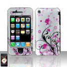 Hard Rubber Feel Design Case for Apple iPhone 3G/3Gs - Pink Garden