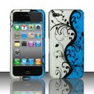 Hard Rubber Feel Design Case for Apple iPhone 4/4S - Blue Vines
