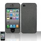 Hard Rubber Feel Design Case for Apple iPhone 4/4S - Carbon Fiber