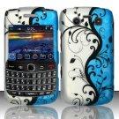 Hard Rubber Feel Design Case for Blackberry Bold 9700/9780 - Blue Vines