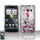 Hard Rubber Feel Design Case for HTC EVO 4G (Sprint) - Pink Garden
