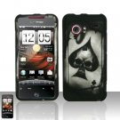 Hard Rubber Feel Design Case for HTC DROID Incredible (Verizon) - Spade Skull