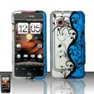 Hard Rubber Feel Design Case for HTC DROID Incredible (Verizon) - Blue Vines