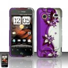 Hard Rubber Feel Design Case for HTC DROID Incredible (Verizon) - Purple Vines