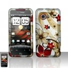 Hard Rubber Feel Design Case for HTC DROID Incredible (Verizon) - Red Flowers