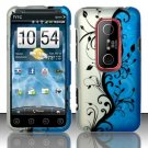 Hard Rubber Feel Design Case for HTC EVO 3D (Sprint) - Blue Vines