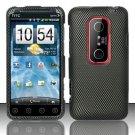 Hard Rubber Feel Design Case for HTC EVO 3D (Sprint) - Carbon Fiber