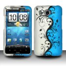 Hard Rubber Feel Design Case for HTC Inspire 4G/Desire HD - Blue Vines