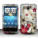 Hard Rubber Feel Design Case for HTC Inspire 4G/Desire HD - Red Flowers