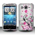 Hard Rubber Feel Design Case for HTC Inspire 4G/Desire HD - Pink Garden