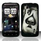 Hard Rubber Feel Design Case for HTC Sensation 4G (T-Mobile) - Spade Skull