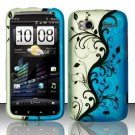 Hard Rubber Feel Design Case for HTC Sensation 4G (T-Mobile) - Blue Vines