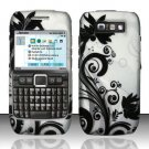 Hard Rubber Feel Design Case for Nokia E71 - Black Vines