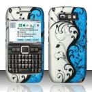 Hard Rubber Feel Design Case for Nokia E71 - Blue Vines