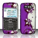 Hard Rubber Feel Design Case for Nokia E71 - Purple Vines
