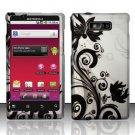 Hard Rubber Feel Design Case for Motorola Triumph WX435 (Virgin Mobile) - Black Vines