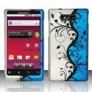 Hard Rubber Feel Design Case for Motorola Triumph WX435 (Virgin Mobile) - Blue Vines