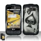 Hard Rubber Feel Design Case for LG Optimus S/U/V - Spade Skull